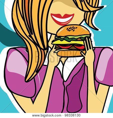 Girl eating a delicious cheeseburger