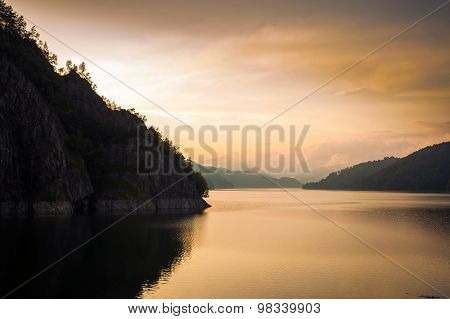 Artificial Lake Behind The Bicaz Dam At Sunset