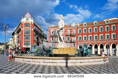 NICE, FRANCE - MAY 15: A view of the fountain Fontaine du Soleil at the Place Massena square on May 15, 2015 in Nice, France. The Place Massena is the main public square in the town