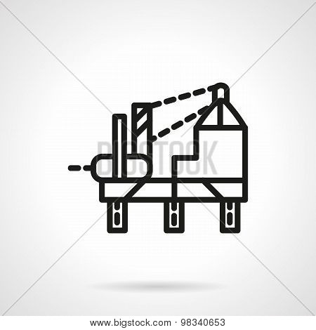 Oil platform simple line vector icon