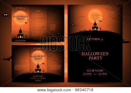Set of flyers for halloween vector illustration.