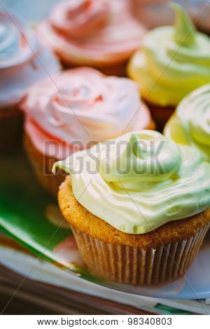 Dessert Sweet Gourmet Cupcakes With Multi-colored Frosting