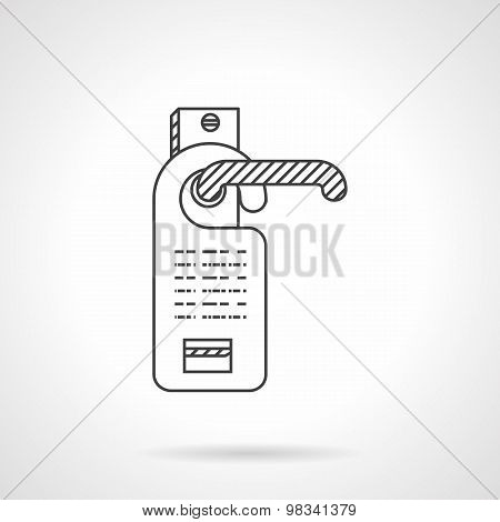 Hotel door label line vector icon