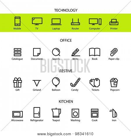 Different line style icons set