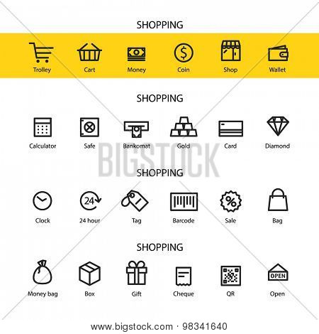 Different line style icons set. Shopping