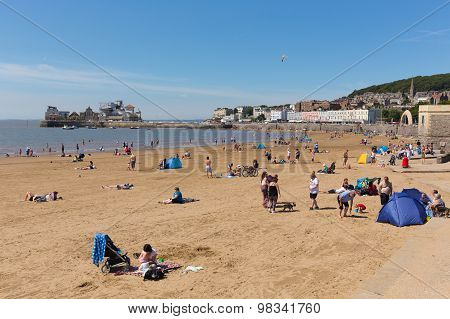 Beautiful summer weather drew visitors and tourists to the seaside at Weston-super-Mare Somerset