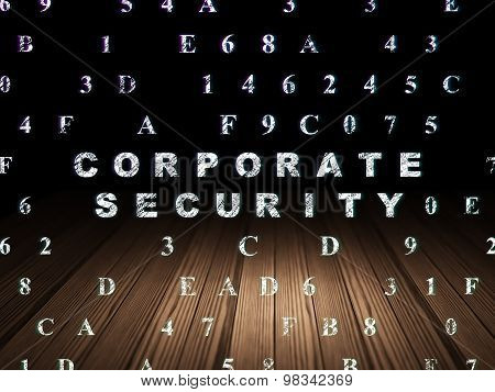 Privacy concept: Corporate Security in grunge dark room