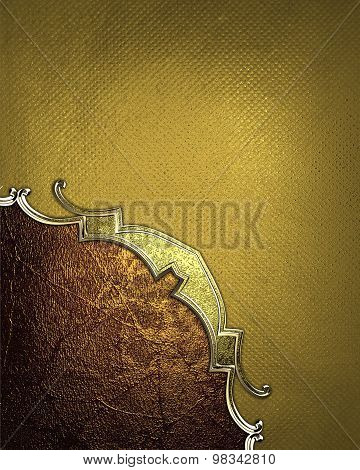 Elegant Gold Texture With Gold Pattern And Red Cutout. Element For Design. Template For Design. Copy