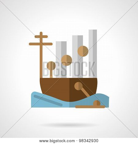 Cargo ship flat color vector icon