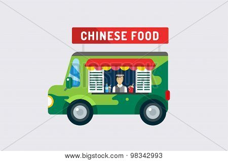 Chinese fast food objects objects set. Meat product, car, mobile, man, noodles, water, china, noodli