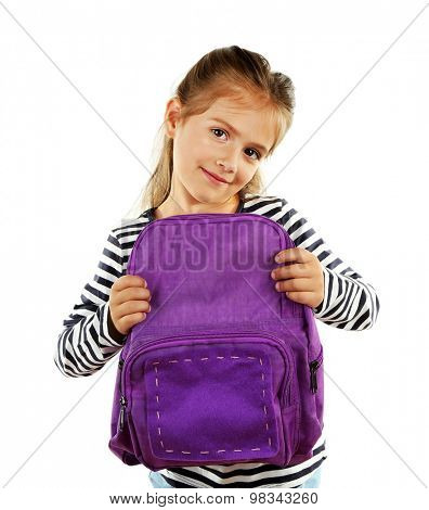 Beautiful little girl holding backpack isolated on white