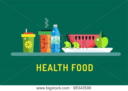 Vegetarian city food shop object icons. Nature product, vitamin symbol, auto restaurant, healthy foo