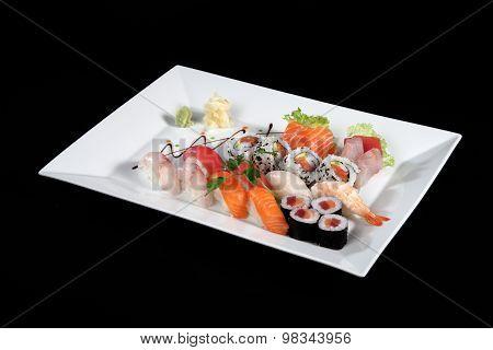 Sushi And Sashimi On Rectangular White Plate