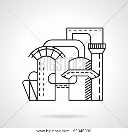 Plant of mineral water line vector icon