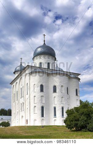 Saint George's Cathedral Russian orthodox Yuriev Monastery in Great Novgorod (Veliky Novgorod.) Russ