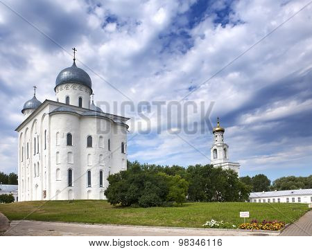 Saint George's Cathedral and bell tower Russian orthodox Yuriev Monastery in Great Novgorod (Veliky