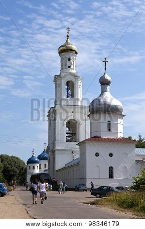 GREAT NOVGOROD - JULY 22: Tourists and believers go to Yuryev monastery Russian Orthodox Church on J
