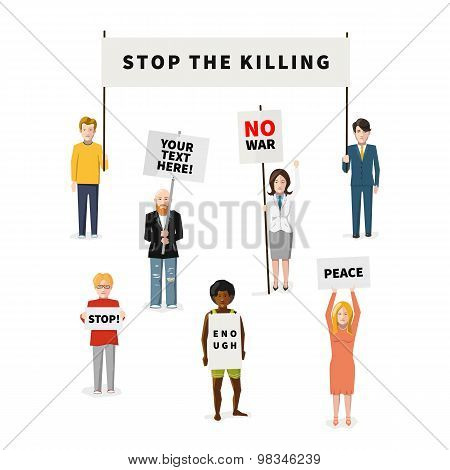 Set of seven demonstrators flat people with different type of posters isolated on white