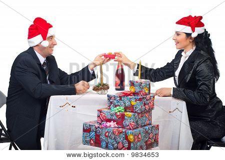 Happy Elegant Couple Celebrate Christmas Night
