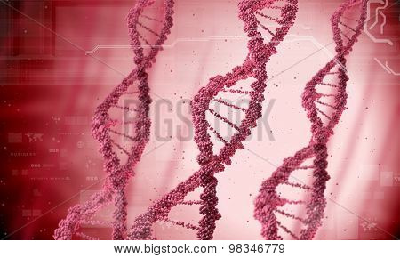 Biochemistry concept with digital red DNA molecule