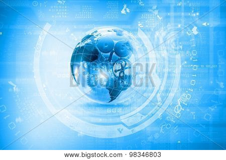 Background conceptual image of digital globe and binary code