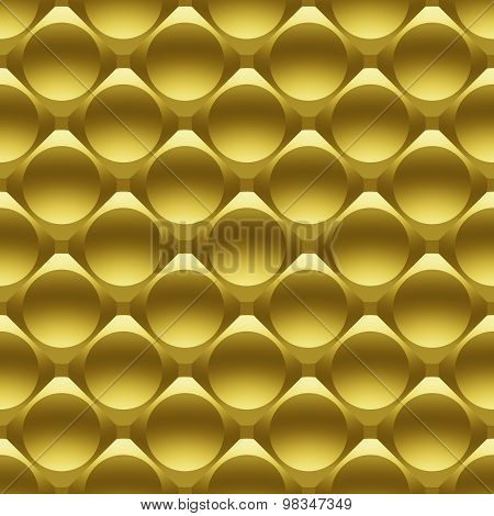 Gold Metal Circles Seamless 3D Pattern