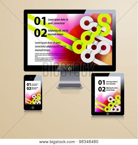 Color application template design for corporate identity with watercolor splash and circle shapes
