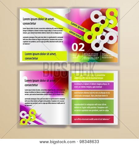 Color application brochure template design for corporate identity with watercolor splash and circle shapes. Stationery set