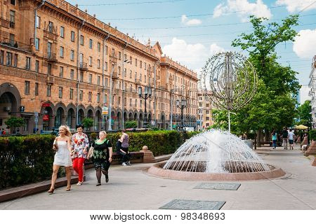 People walking on Lenin Street in summer in Minsk, Belarus