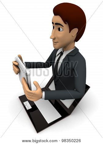 3D Man Popping Out Of Laptop With Calender Concept