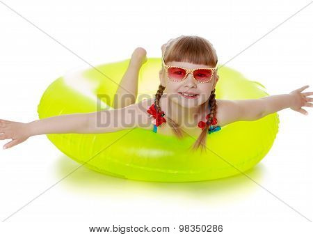 Girl in a lifebuoy