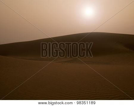 Sunset At Sand Dune In Thar Desert, Rajasthan, India