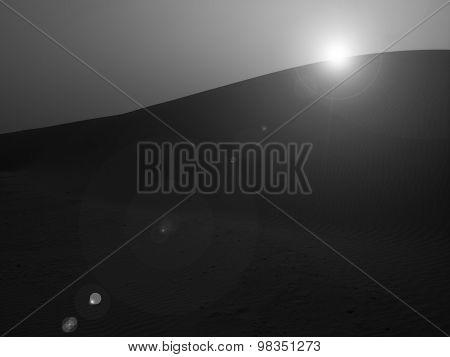 Monotone Image Of Sunset At Sand Dune In Thar Desert With Lens Flare, Rajasthan, India