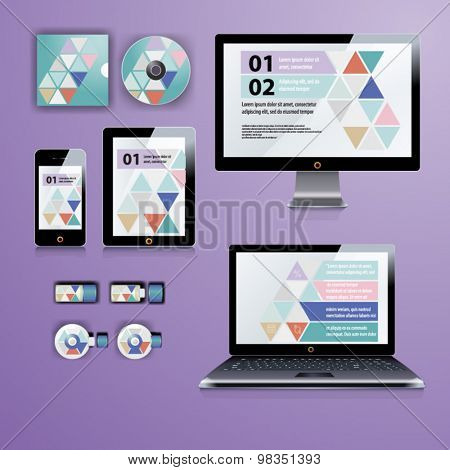 Geometry application template design for corporate identity with  triangle shapes. Stationery set