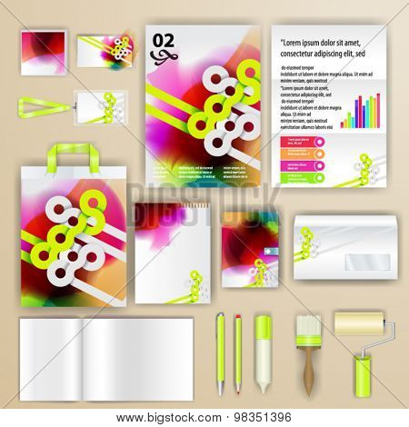 Watercolor corporate identity template design with geometry shapes. Business stationery