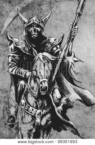 Death. Sketch of tattoo art, warrior at horse on vintage paper, handmade illustration