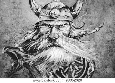 Tattoo art, sketch of a viking warrior, Illustration of an ancient wooden figurehead on a Viking longboat