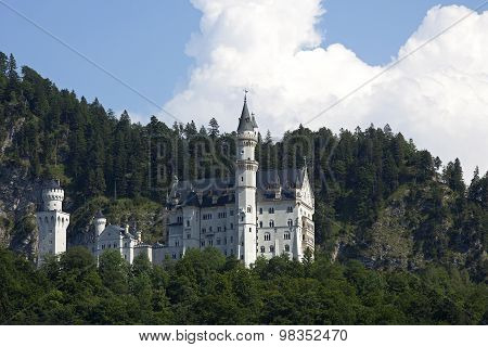 Castle Of Neuschwanstein In Bavarian Alps