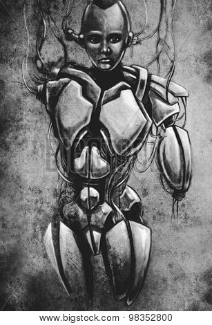 Sketch of tattoo art, android, robot, fantasy illustration