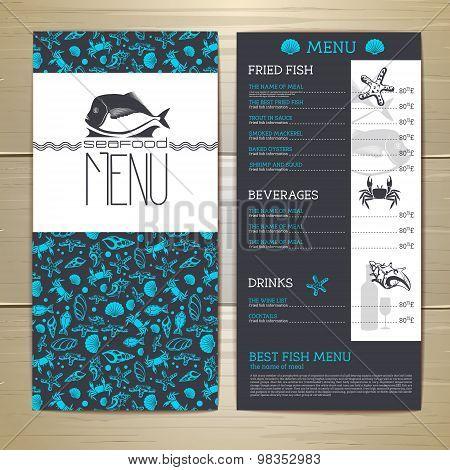Seafood Cafe Menu Design. Document Template