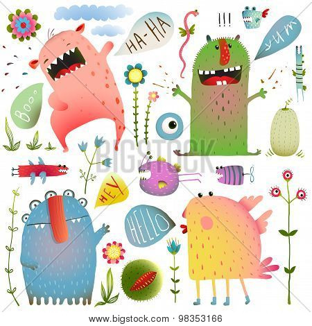 Fun Cute Monsters for Kids Design Colorful Collection with Flowers and Speech Bubbles