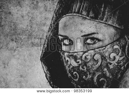 Sketch made with digital tablet of arabic woman, desert