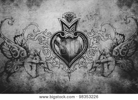 Tattoo art design, heart with two nymphs
