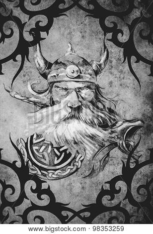Tattoo art design, viking warrior decorated with tribal artworks over vintage paper