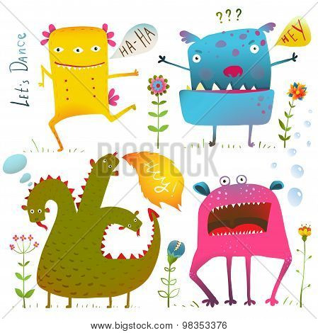 Fun Cute Kind Monsters for Children Design Colorful Collection