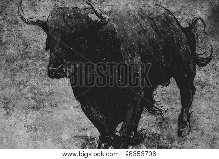 Sketch made with digital tablet, bull running on vintage paper, handmade illustration