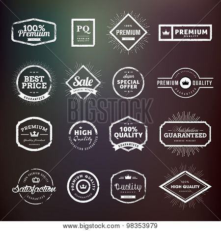 Collection of vintage hand drawn premium quality badges and stickers for designers