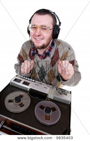 Nerd Enjoying Music