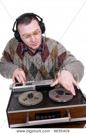 Nerd Enjoying Music