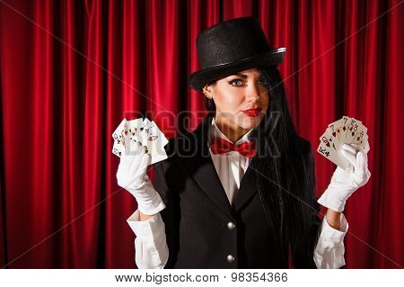 Magician Holding A Playing Cards